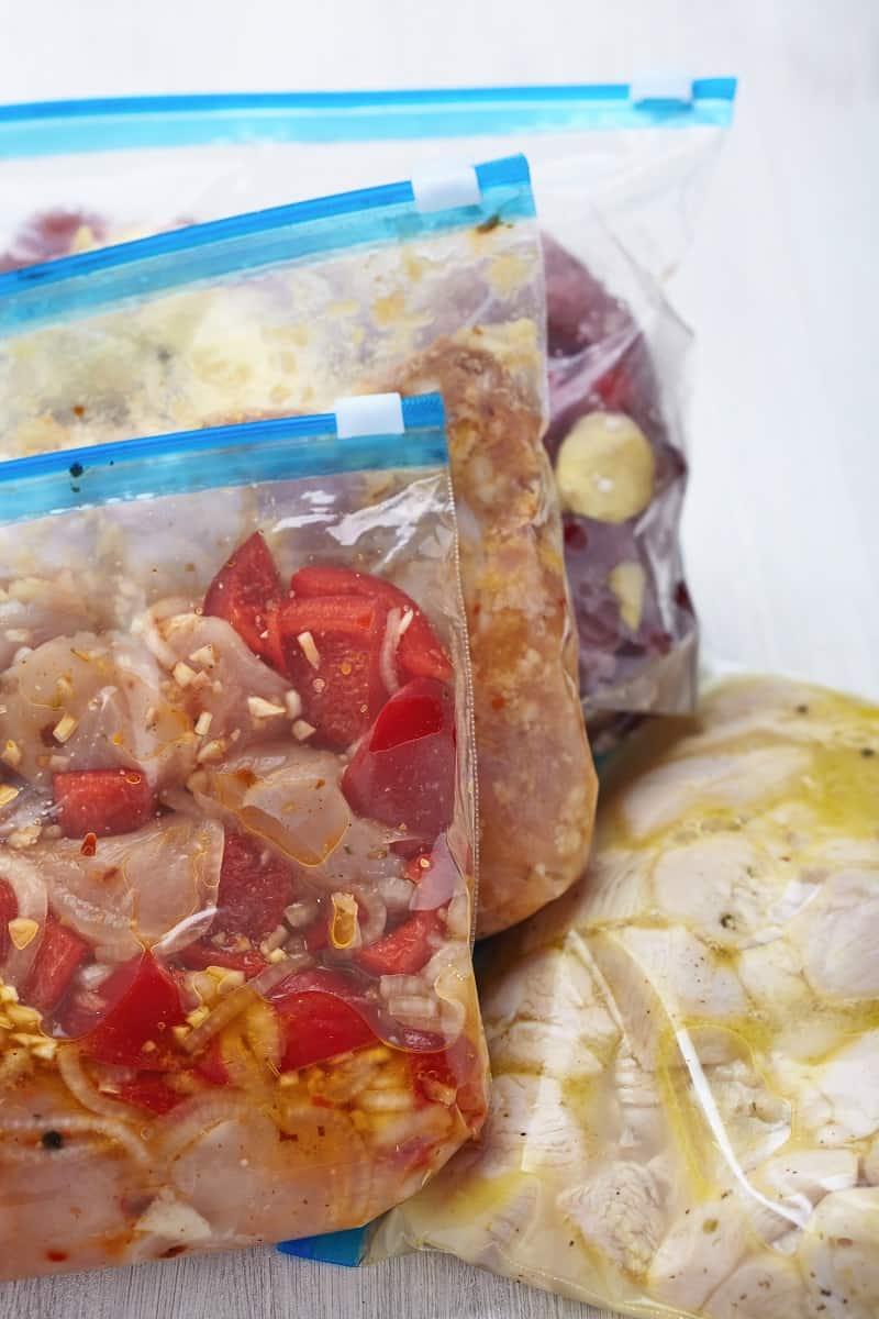 Individual freezer meals in ziplock bags
