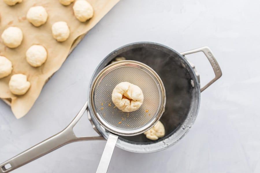 sweet potato bite in pretzel coating before cooking