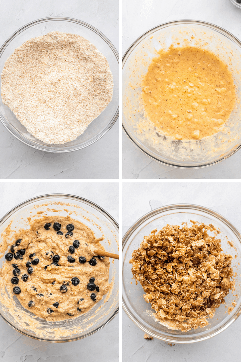 collage of step by step mixing photos for making gluten free muffins