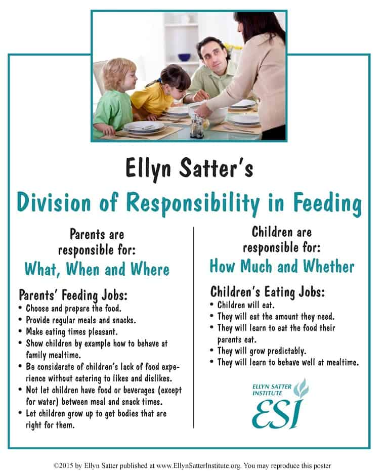 graphic of ellyn satter division of responsibility