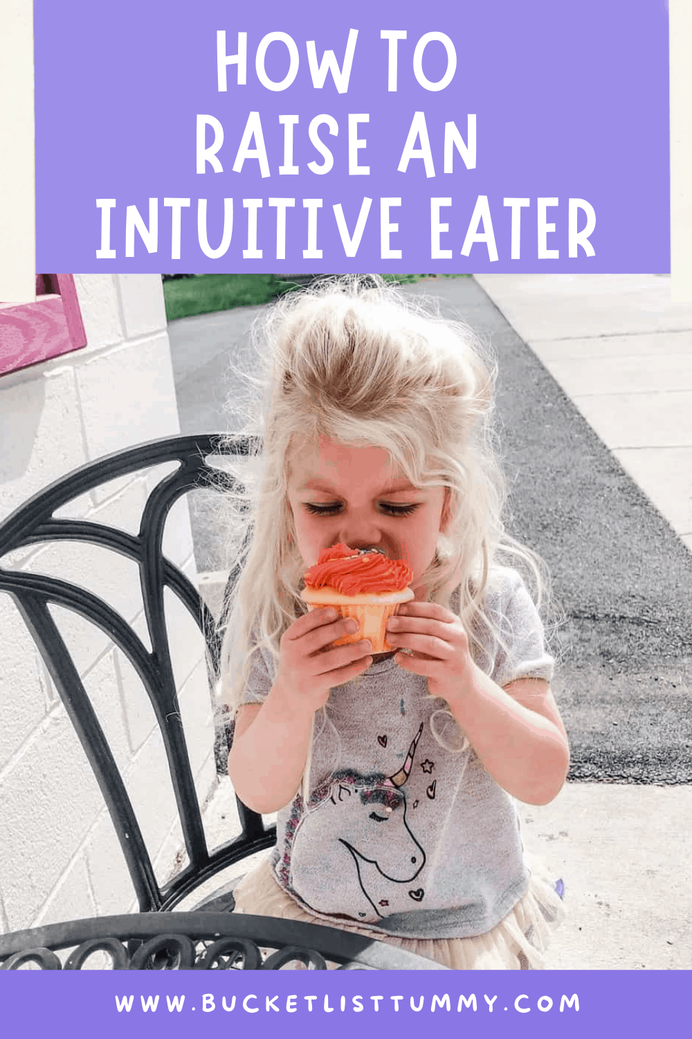 Pinterest graphic with young toddler eating cupcake and text over