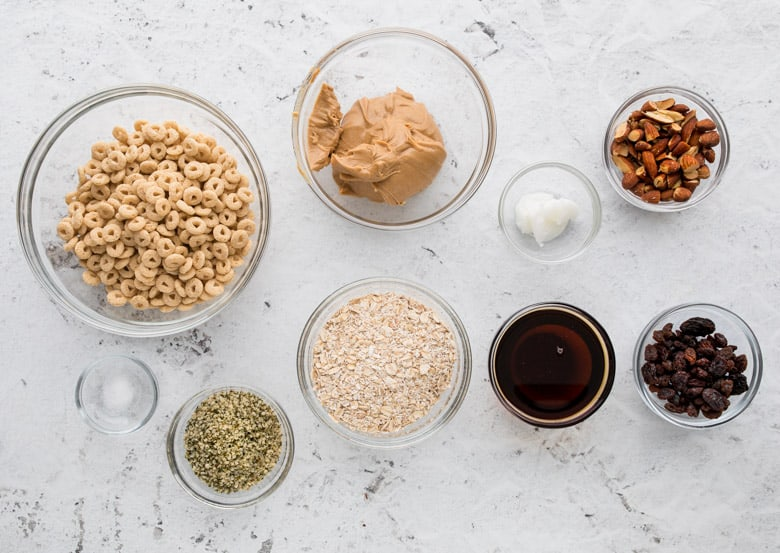 ingredients in small bowls for peanut butter cheerio bars