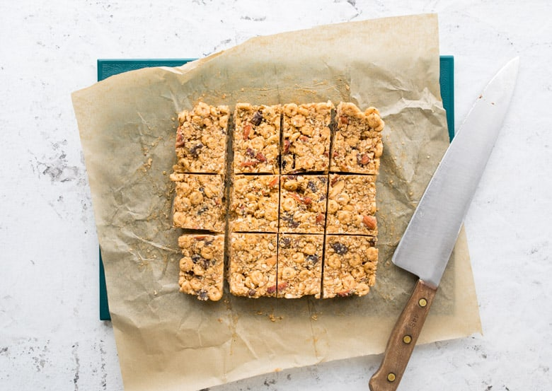 vegan trail mix bars cut after coming out of the freezer