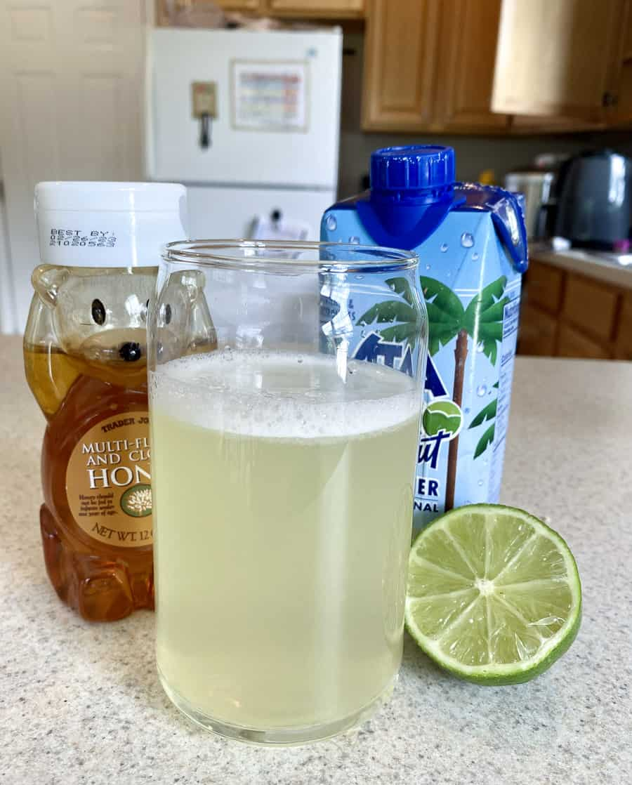 homemade electrolyte drink with coconut lime flavor