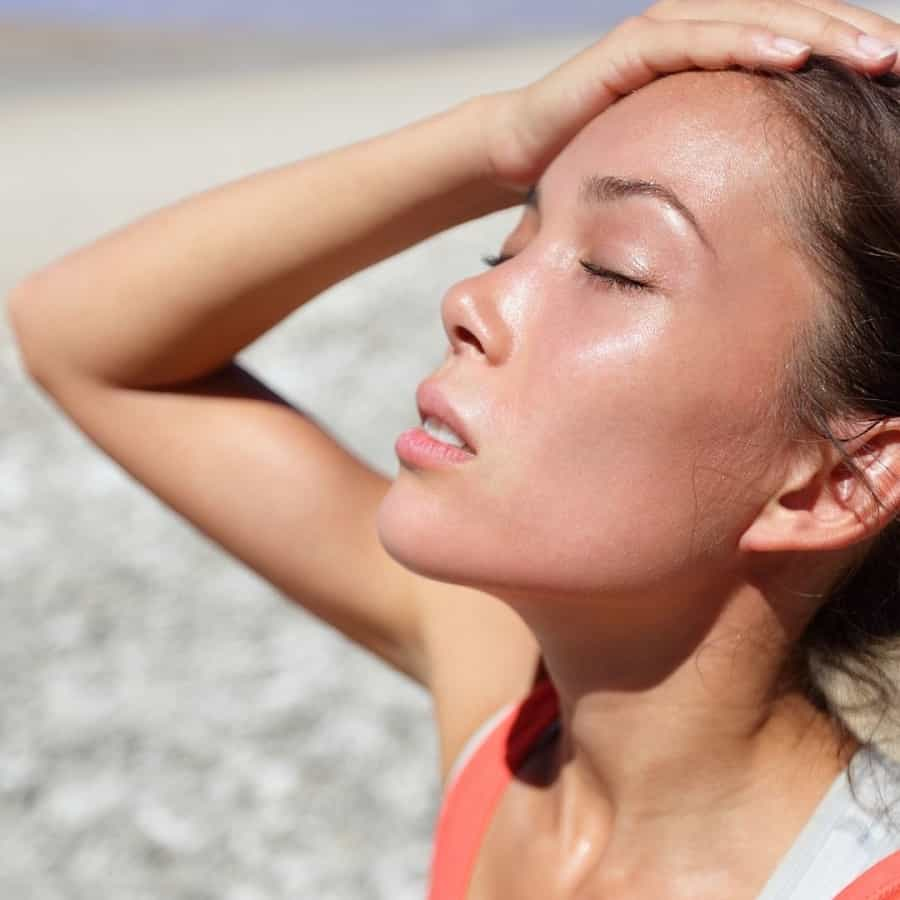 woman after exercise feeling warm and needing homemade electrolyte drink