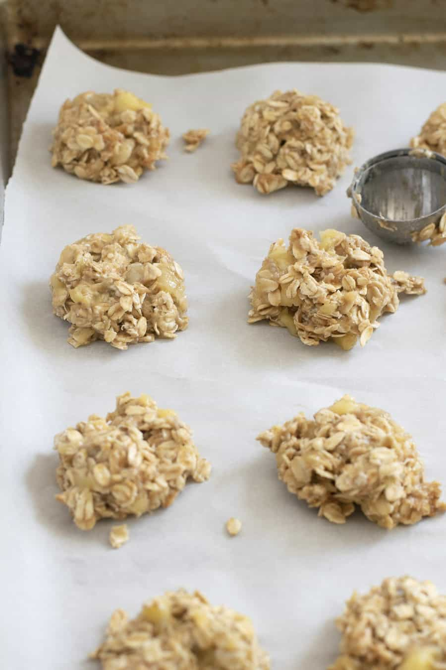 baking sheet with peanut butter banana oatmeal cookies before baking