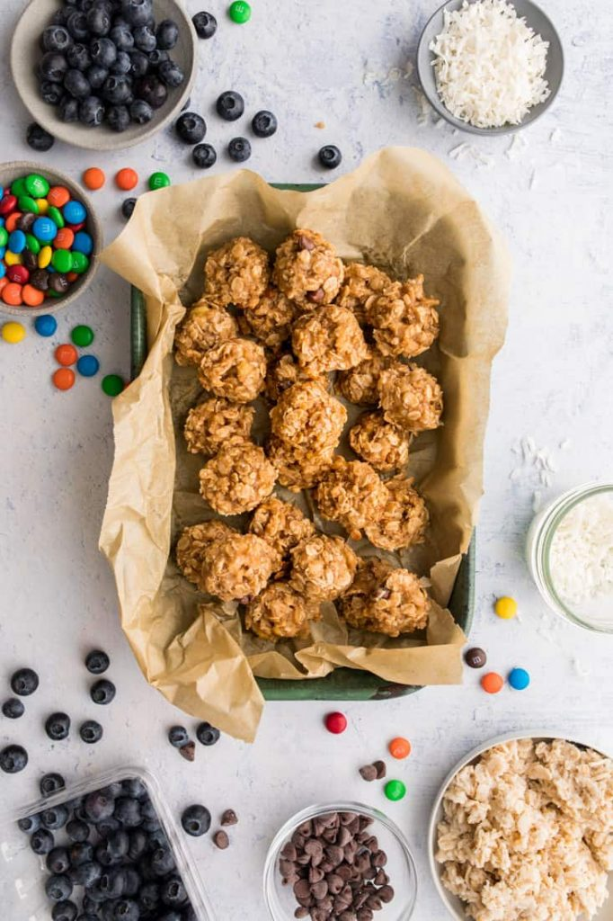 leftover oatmeal cookies on baking sheet with toppings