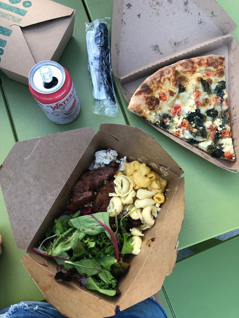 whole foods salad bar meal and pizza