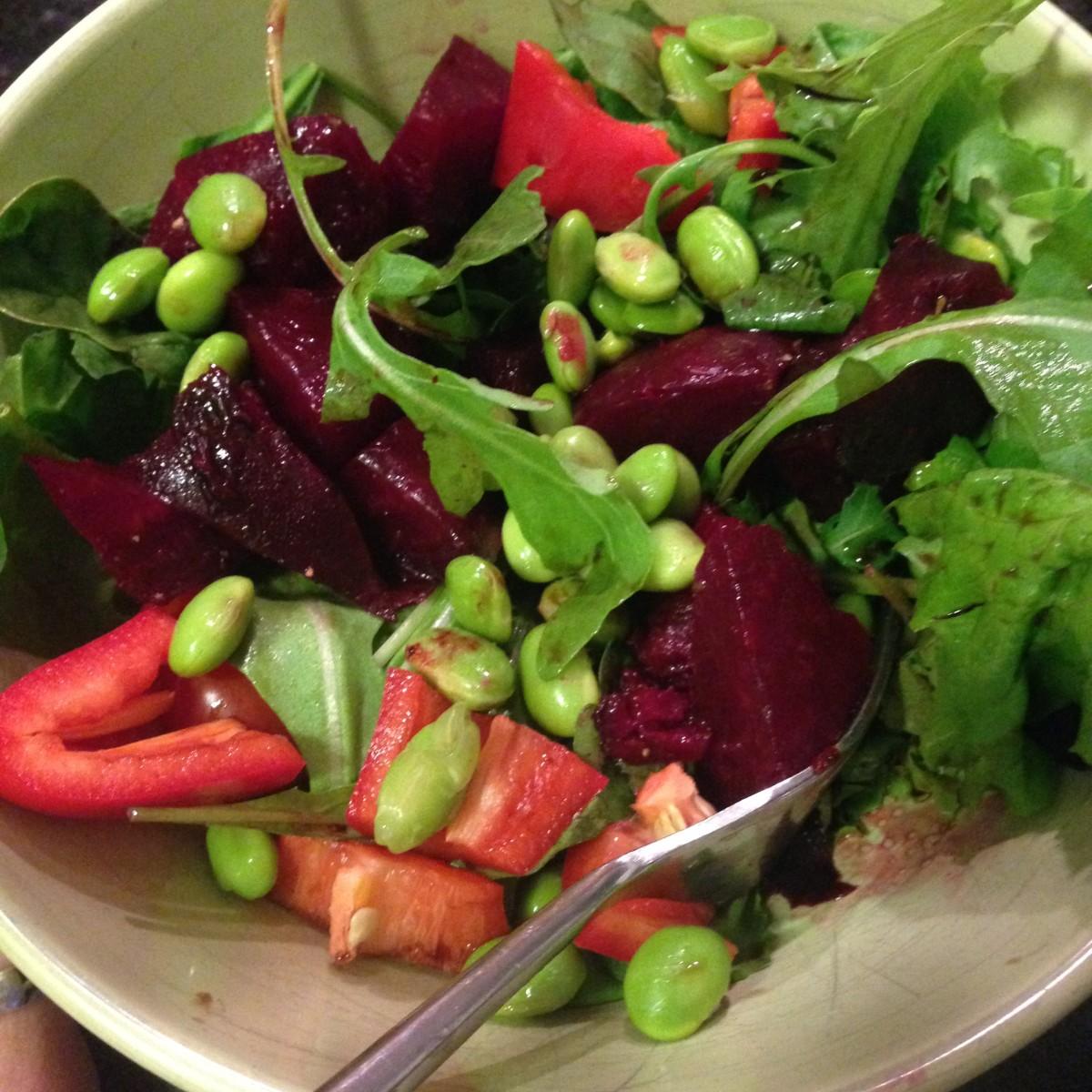 Fall Salad leftovers, colorful fall salad